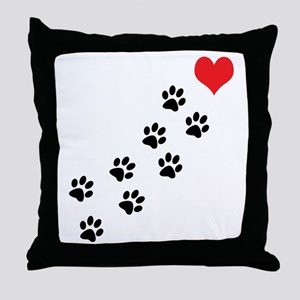 Paw Prints To My Heart Throw Pillow