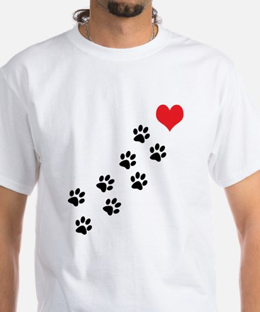 Paw Prints To My Heart White T-Shirt