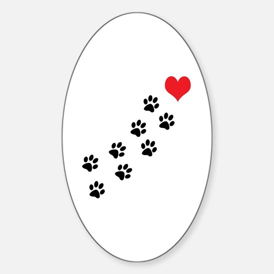 Paw Prints To My Heart Sticker (Oval)