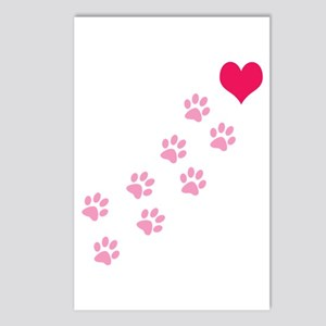 Pink Paw Prints To My Heart Postcards (Package of