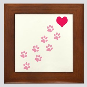 Pink Paw Prints To My Heart Framed Tile