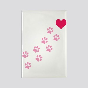 Pink Paw Prints To My Heart Rectangle Magnet