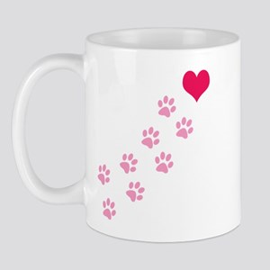 Pink Paw Prints To My Heart Mug