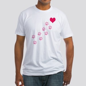 Pink Paw Prints To My Heart Fitted T-Shirt