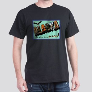 Alaska State Greetings (Front) Dark T-Shirt