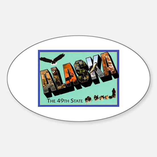 Alaska State Greetings Oval Decal