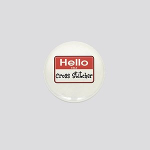 Cross Stitcher Nametag Mini Button