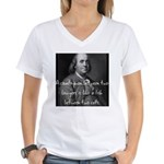 Benjamin Franklin Quote 1 Women's V-Neck T-Shirt