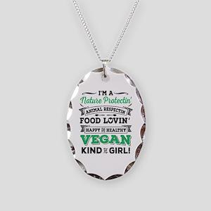 vegan Necklace Oval Charm