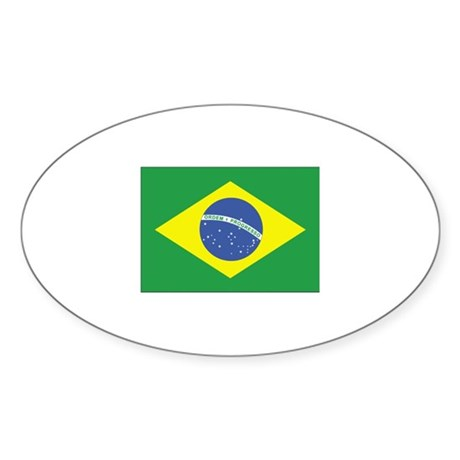 Brazil Flag Oval Sticker