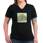 Study an Old Map Women's V-Neck Dark T-Shirt