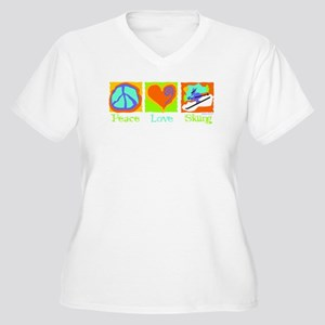 Peace Love Skiing Women's Plus Size V-Neck T-Shirt
