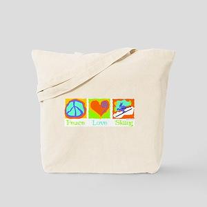 Peace Love Skiing Tote Bag