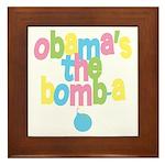 Obama's the Bomba Framed Tile