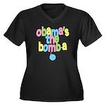Obama's the Bomba Women's Plus Size V-Neck Dark T-