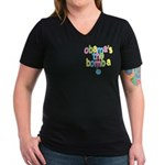 Obama's the Bomba Women's V-Neck Dark T-Shirt