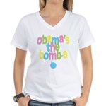 Obama's the Bomba Women's V-Neck T-Shirt