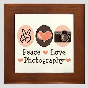 Peace Love Photography Camera Framed Tile