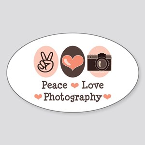 Peace Love Photography Camera Oval Sticker