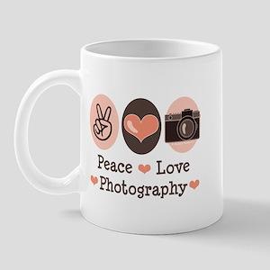 Peace Love Photography Camera Mug
