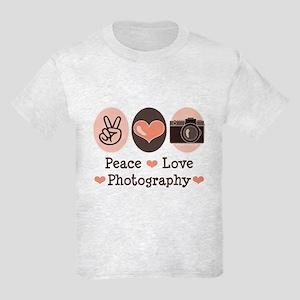 Peace Love Photography Camera Kids Light T-Shirt