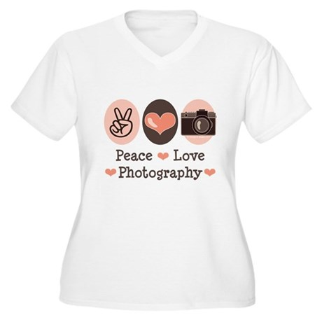 Peace Love Photography Camera Women's Plus Size V-