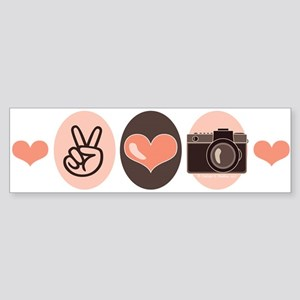 Peace Love Photography Camera Bumper Sticker