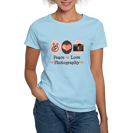 Peace Love Photography Camera Women's Light T-Shir