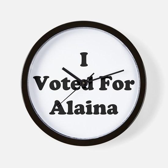 I Voted For Alaina Wall Clock