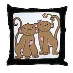Cute Monkey Couple Throw Pillow