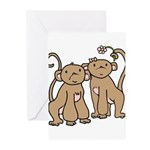 Cute Monkey Couple Greeting Cards (Pk of 10)