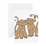 Cute Monkey Couple Greeting Card