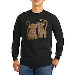 Cute Monkey Couple Long Sleeve Dark T-Shirt