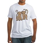 Cute Monkey Couple Fitted T-Shirt