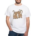 Cute Monkey Couple White T-Shirt