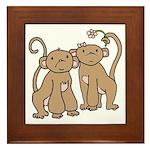 Cute Monkey Couple Framed Tile