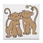 Cute Monkey Couple Tile Coaster