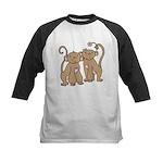 Cute Monkey Couple Kids Baseball Jersey