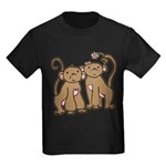 Cute Monkey Couple Kids Dark T-Shirt