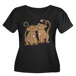 Cute Monkey Couple Women's Plus Size Scoop Neck Da