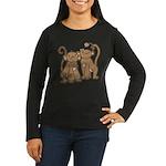Cute Monkey Couple Women's Long Sleeve Dark T-Shir