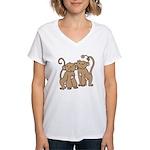 Cute Monkey Couple Women's V-Neck T-Shirt