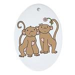 Cute Monkey Couple Oval Ornament