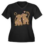 Cute Monkey Couple Women's Plus Size V-Neck Dark T