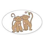 Cute Monkey Couple Oval Sticker