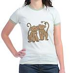 Cute Monkey Couple Jr. Ringer T-Shirt