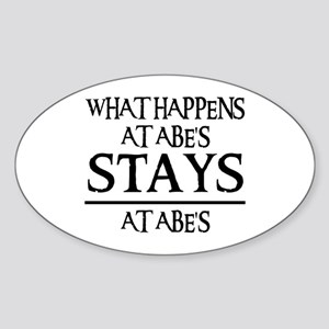 STAYS AT ABE'S Oval Sticker