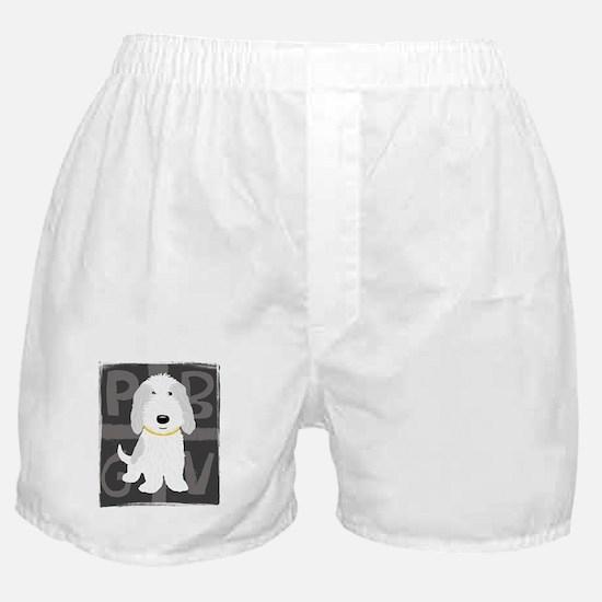 Grey & White PBGV Boxer Shorts