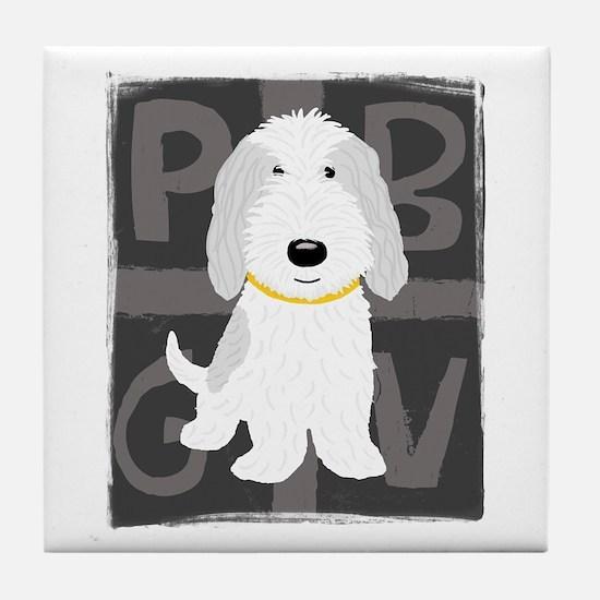 Grey & White PBGV Tile Coaster