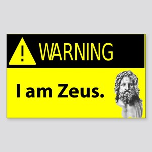 Warning: I Am Zeus Rectangle Sticker